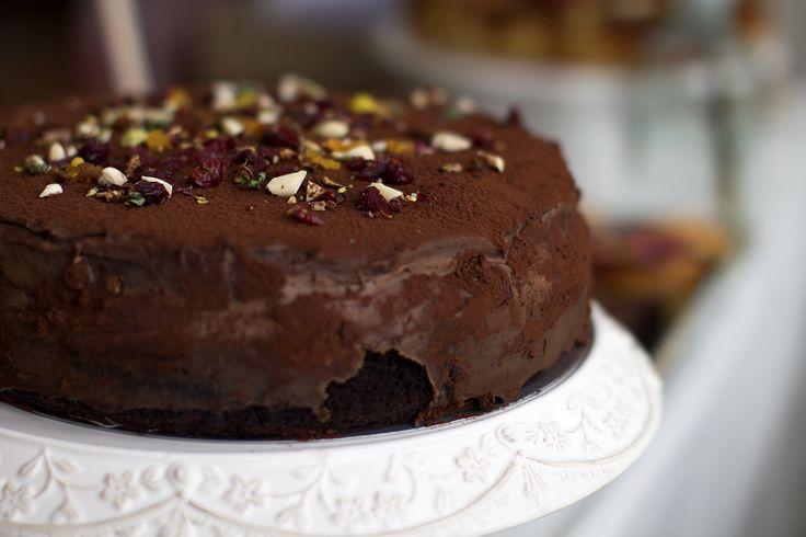 Salted caramel, chocolate cake.