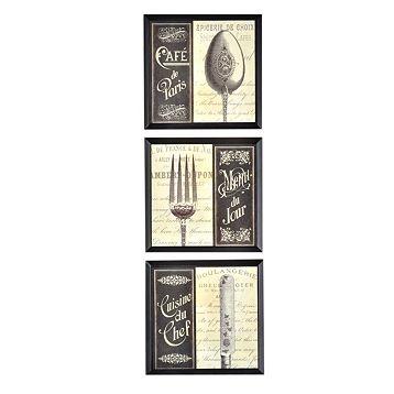 French Menu Plaque Set Of 3