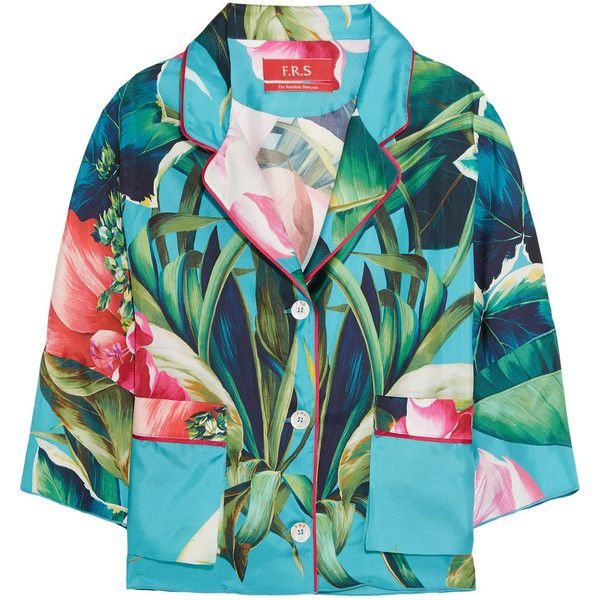 F.R.S For Restless Sleepers Oversized printed silk-twill shirt ($755) ❤ liked on Polyvore featuring tops, turquoise, multi color tops, oversized tops, tropical print shirt, shirt top and blue top