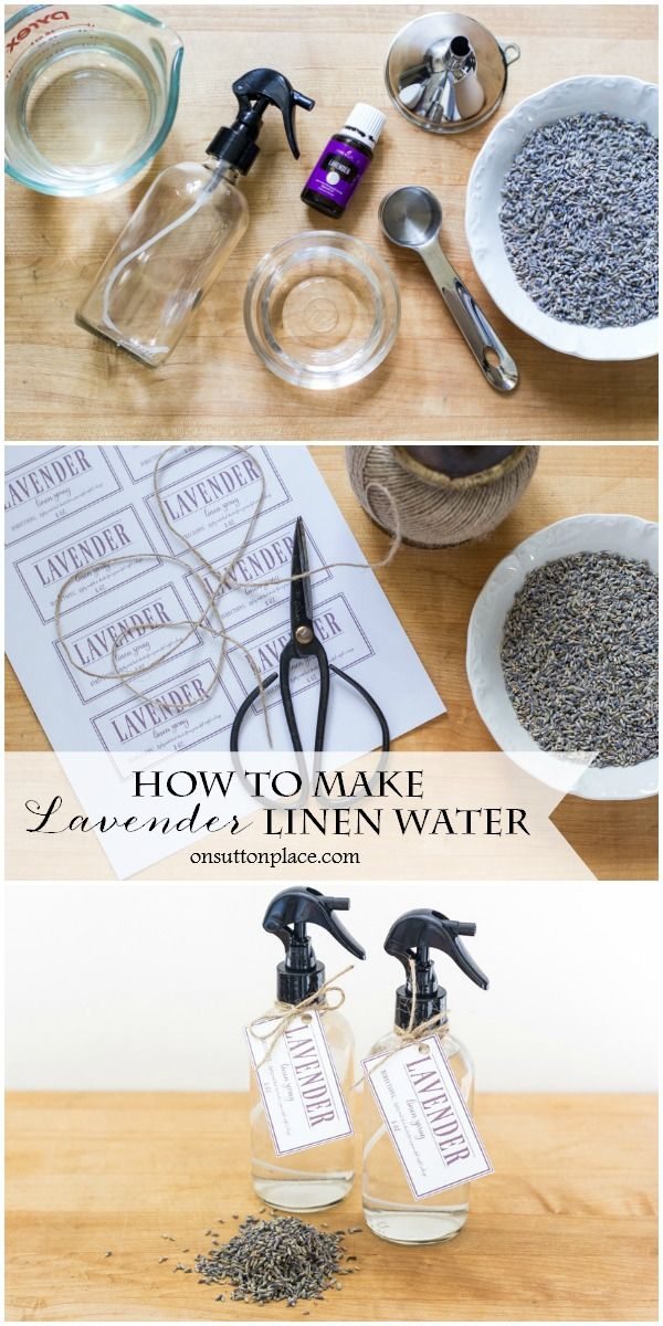 How to Make Lavender Linen Water | Easy, step-by-step directions to make your own all-natural lavender linen spray. Refreshes bed sheets and stored linens. Includes a free printable tag for gift giving.
