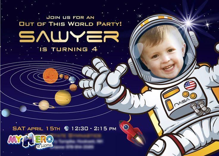 astronaut party invitations - 736×525