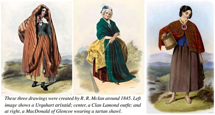 old sketches of highland women's attire