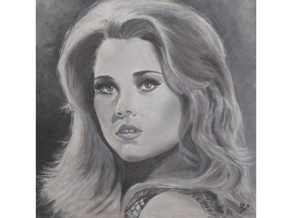 Portrait noir et blanc à l'huile de Jane Fonda