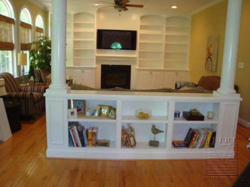 Built in bookshelves ideas half wall built in bookcase with columns for the home pinterest - Room divider half wall ...