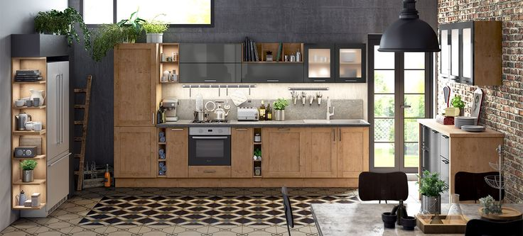 cuisine emina ixina cuisine style pinterest confort vintage industrial and fitted kitchens. Black Bedroom Furniture Sets. Home Design Ideas
