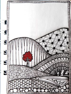zentangle - love the touch of red.  This artist likes the color red and uses it well. Lots of ideas through her posts.
