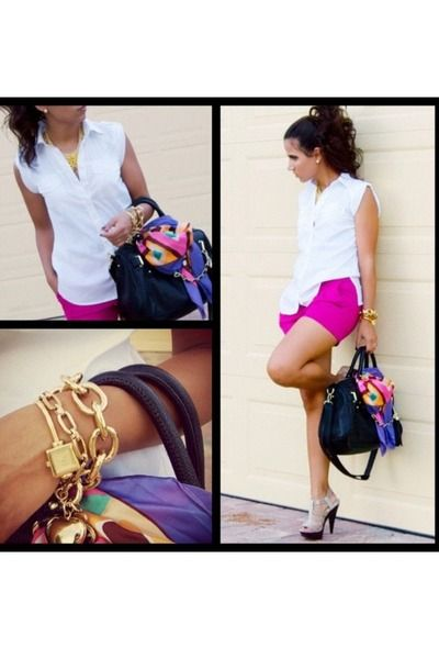 Magenta-h-m-shorts-white-bcbg-top-light-brown-bakers-shoes-sandals