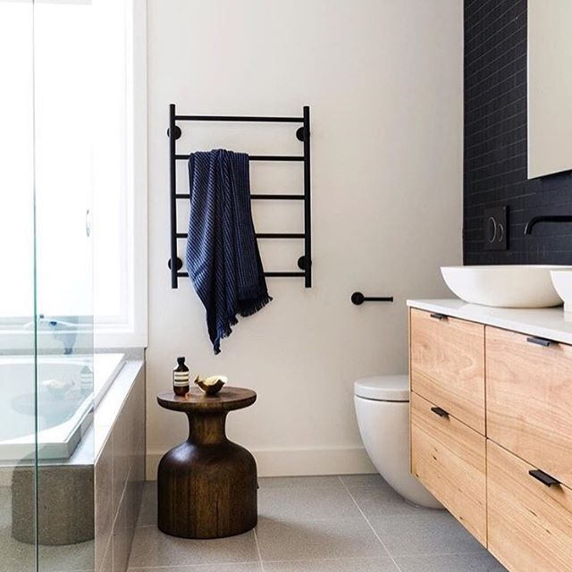 Beautiful, Modern Bathroom Styled By @dani_wales, Featuring Our Waffle Bath  Towel In Indigo