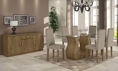 Conjunto para Sala de Jantar com Mesa Retangular, Balcão Buffet e 6 Cadeiras Carvalho/Bege - Lopas   Lojas KD