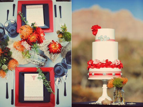 Beautiful place setting and wedding cake with red and blue floral accents