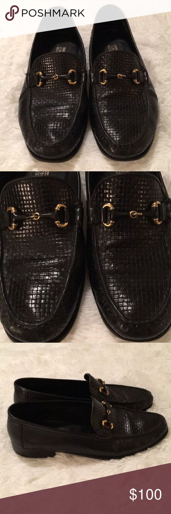 Artioli Men's Slip -On Black Shoes Pair of 8 1/2 D Men's Black-Slip-Ons by Artioli.  These are hand made in Italy.  In good pre-owned condition.  It's a soft Perforated Black Leather with Gold look bit at the vamp. Artioli Shoes Loafers & Slip-Ons