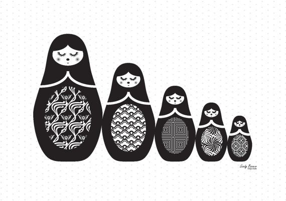 Russian Dolls 'all lined up' Print in Black & White por sandybanner
