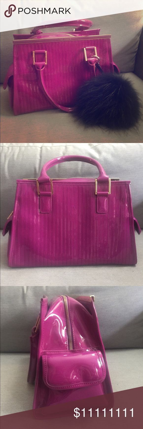 Ted Baker Beautiful Purple Patent Leather Satchel Stunning design and color! Purple Patent leather with gold tone hardware. Double handles and side pockets with magnetic flap closure. Interior lined with super adorable Doggy Print. The interior has slip and zip pockets. Medium size. Excellent pre owned condition. No dust bag, fur charm not included. Feel free to ask questions. Bundle 2 or more items to get discount. 👍🏻🌸😊 Trade-in value is higher. Ted Baker Bags Satchels