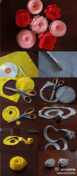 Cut out a circle of felt. Cut into spiral shape. start rolling from outside of circle inward. Use glue to secure. For a fancier flower; cut a design around circle as in right of photo. So easy! via