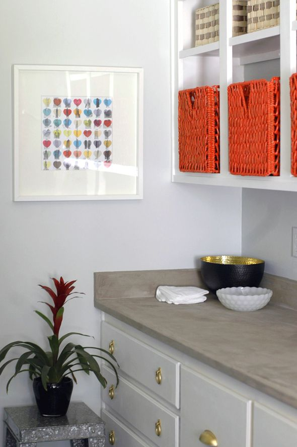 Covering laminate counters with concrete