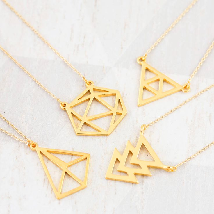 18k gold geometric necklace by j&s jewellery | notonthehighstreet.com