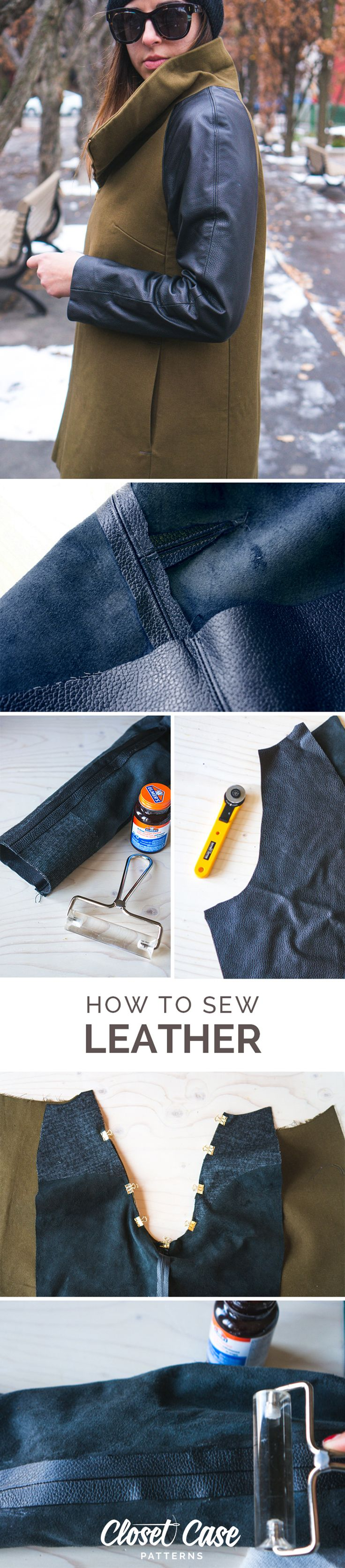 Sewing leather is easy and fun! Everything you ever want to know about how to sew, cut and source leather for your sewing and DIY projects. http://closetcasefiles.com/how-to-sew-leather-and-faux-leather/
