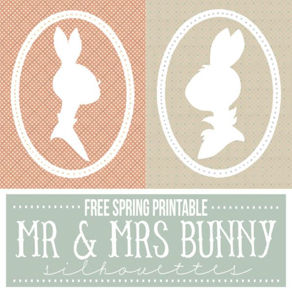 FREE Spring Printable at somewhat simple.com - 8x10 Mr + Mrs Bunny silhouettes | Such a fun way to add a little whimsy to my spring decor!