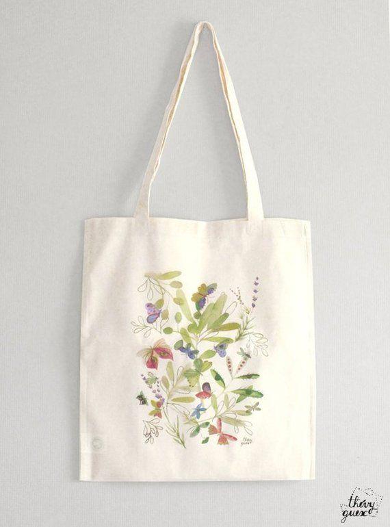 Tote Bag Plante Papillon Aquarelle Botanique Coton Bio Organic