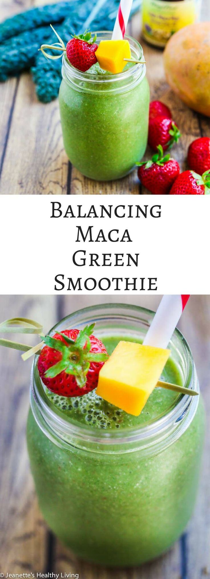 Balancing Maca Green Smoothie - this green smoothie is hormone balancing and a good source of protein and fiber for women 40+ ~ http://jeanetteshealthyliving.com @MegaFood #smoothie #recipe #ad