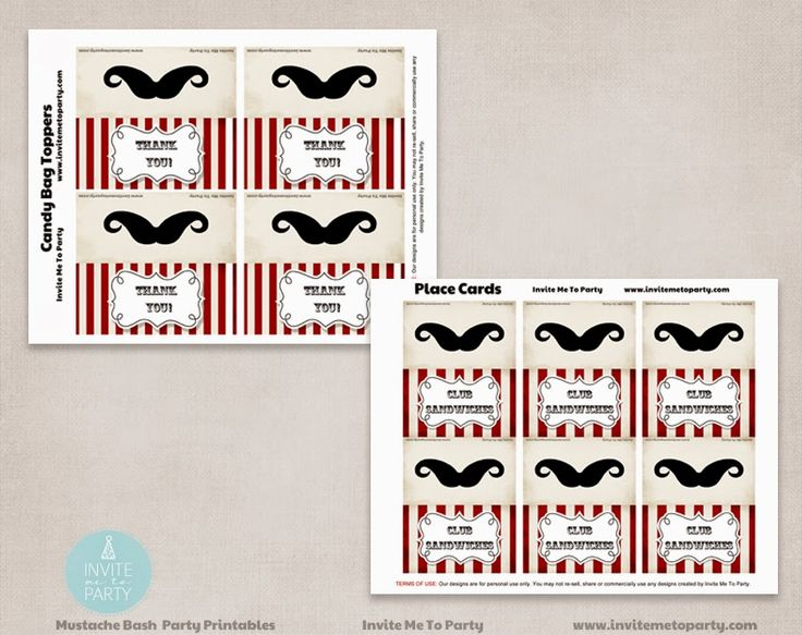 Little Man Menu Cards and Candy Bag Toppers Invite Me To Party: Mustache Bash Party / Little Man Party