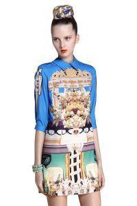 Blue+Wing+Collar+Half+Sleeve+Retro+Print+Shift+Dress+$59