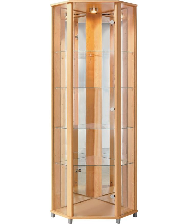 Buy corner glass display cabinet beech effect at argos - Glass display units for living room ...