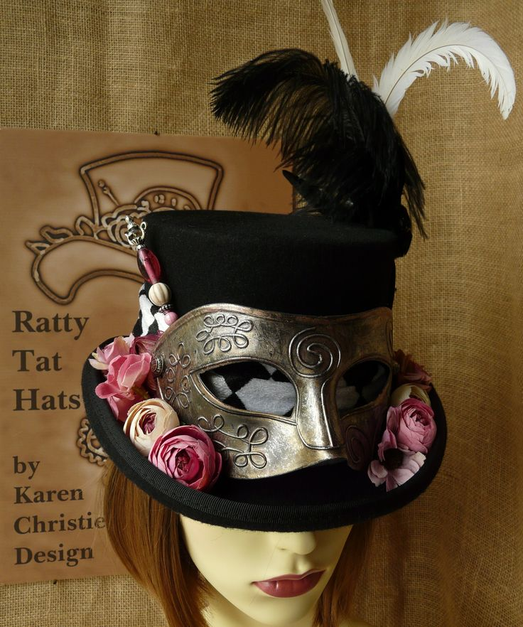 Ladies Steampunk hat with masquerade mask, The Harlequin. A custom make created in Northern Ireland for a lady from South Carolina.