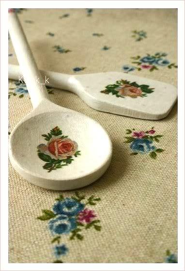 decupage on wooden spoon