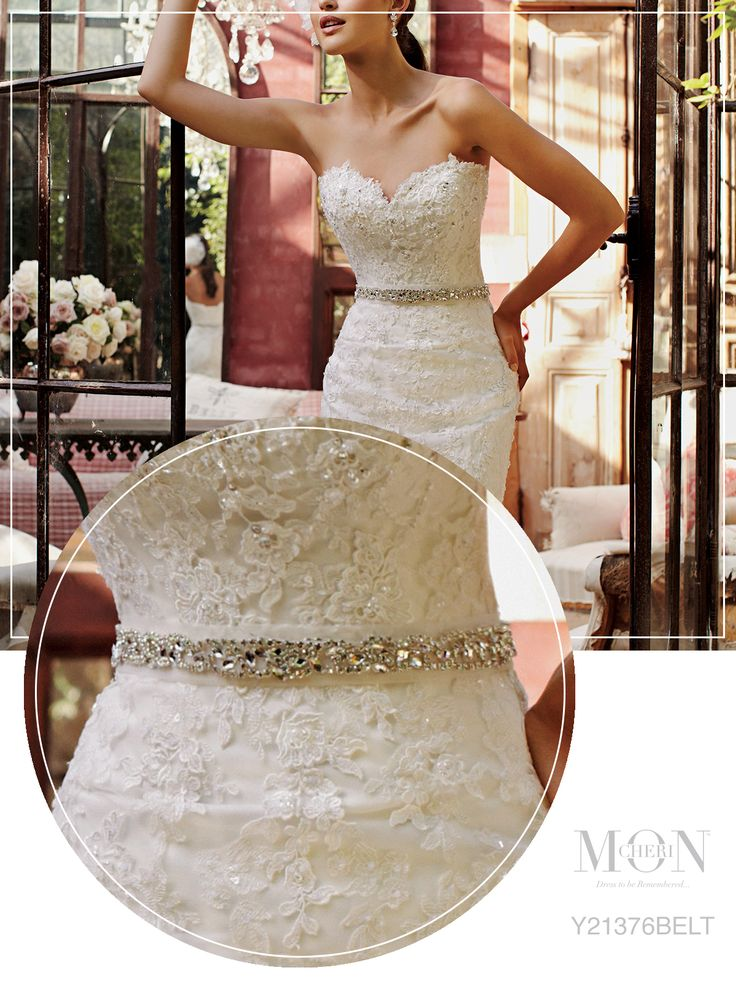 Hand-beaded illusion wedding dress belt - Mon Cheri Bridals Style No. JY21376BELT