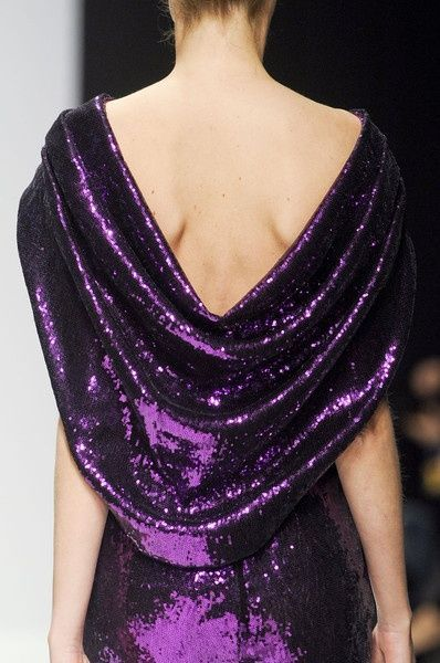 Lorenzo Riva purple sequined draped back gown