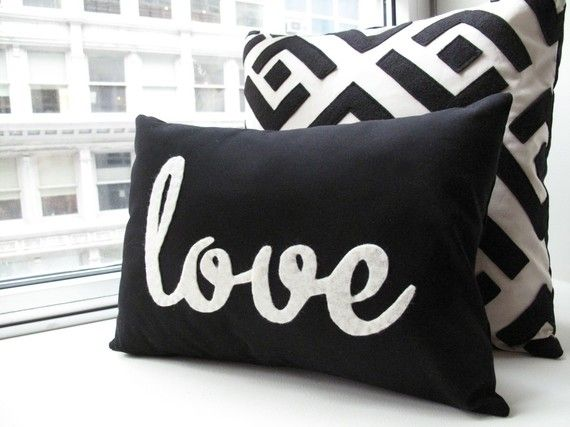 Black Love Pillow by HoneyPieDesign on Etsy. so simple and so cute!