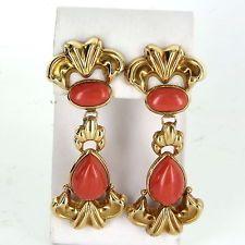Red Coral klepadlo náušnice Vintage 18k žluté zlato Estate Jemné šperky