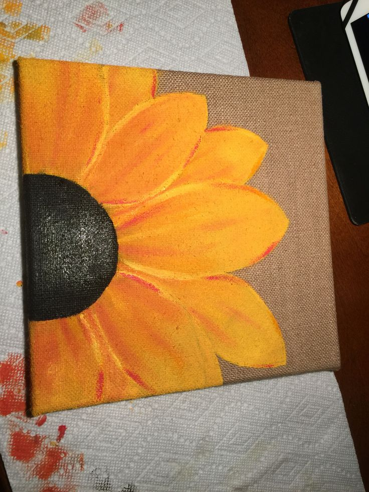 Flower painted on burlap canvas …