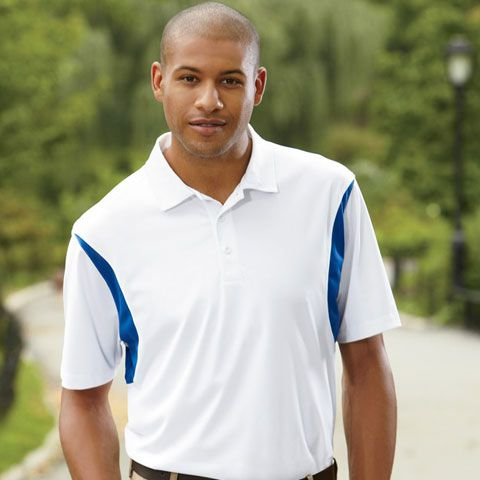 Progessive styling with Harriton Back Blocked M356 Micro-pique Mens Polo Shirt