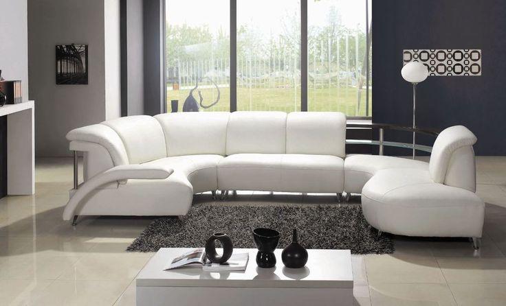 WOHNLANDSCHAFT LEDER SOFA ECK COUCH GARNITUR ECKSOFA 104 SITZECKE oval Weiß in Möbel & Wohnen, Möbel, Sofas & Sessel | eBay