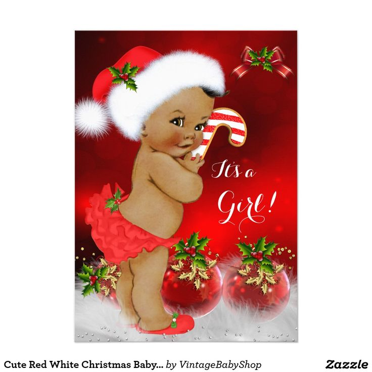 Cute Red White Christmas Baby Shower Girl Ethnic 5x7 Paper Invitation Card