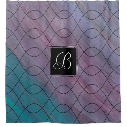 Visionary Bath | Monogram Pink Purple Turquoise Shower Curtain - stylish gifts unique cool diy customize