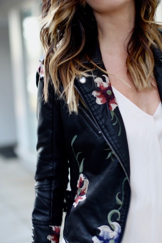 It's all in the details | floral leather jacket and a slip dress for a feminine yet edgy look via For All Things Lovely | Dress: Urban Outfitters, Jacket: Urban Outfitters, Shoes: Zara, Handbag: Valentino, Sunglasses: Ray Ban