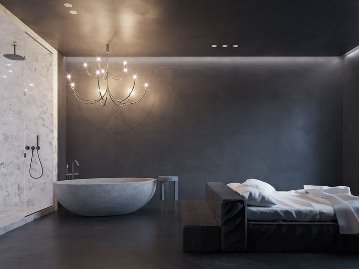 monochrome bedroom black & white interior marble bathroom bed stone bathtub kelly wearstler