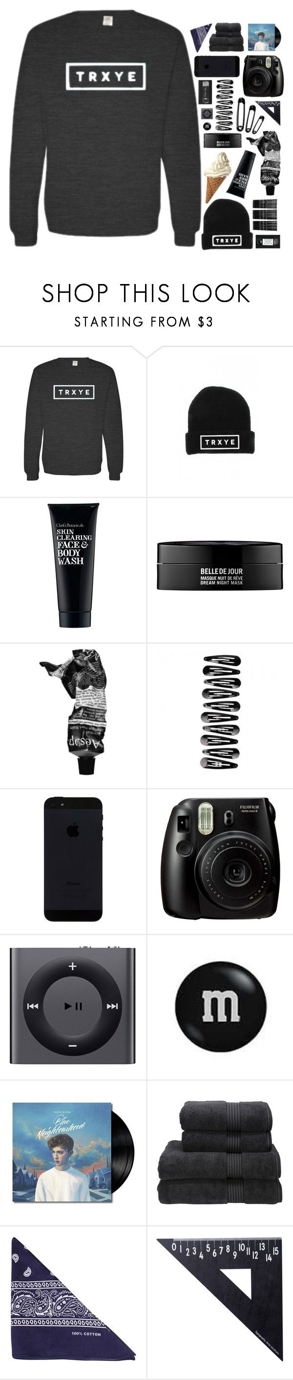"""""""Troye sivan"""" by mint-green-macaroonn ❤ liked on Polyvore featuring Clark's Botanicals, Kenzoki, Aesop, Fujifilm, Apple, Christy, NLY Accessories, Design Letters and Monki"""