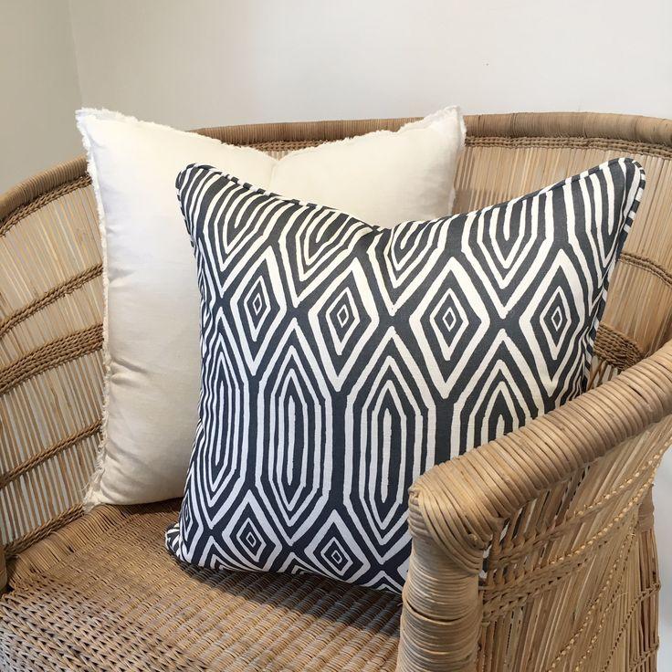 Josie and June Australian made cushions. 'Diamond Lines' linen-cotton cushion available at www.josieandjune.com