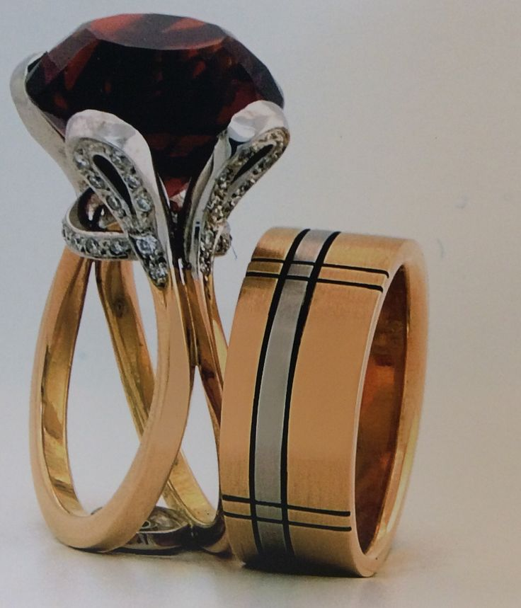 Citrine lasso ring with white gold diamond set shoulder and tartan influenced band in whit and yellow gold