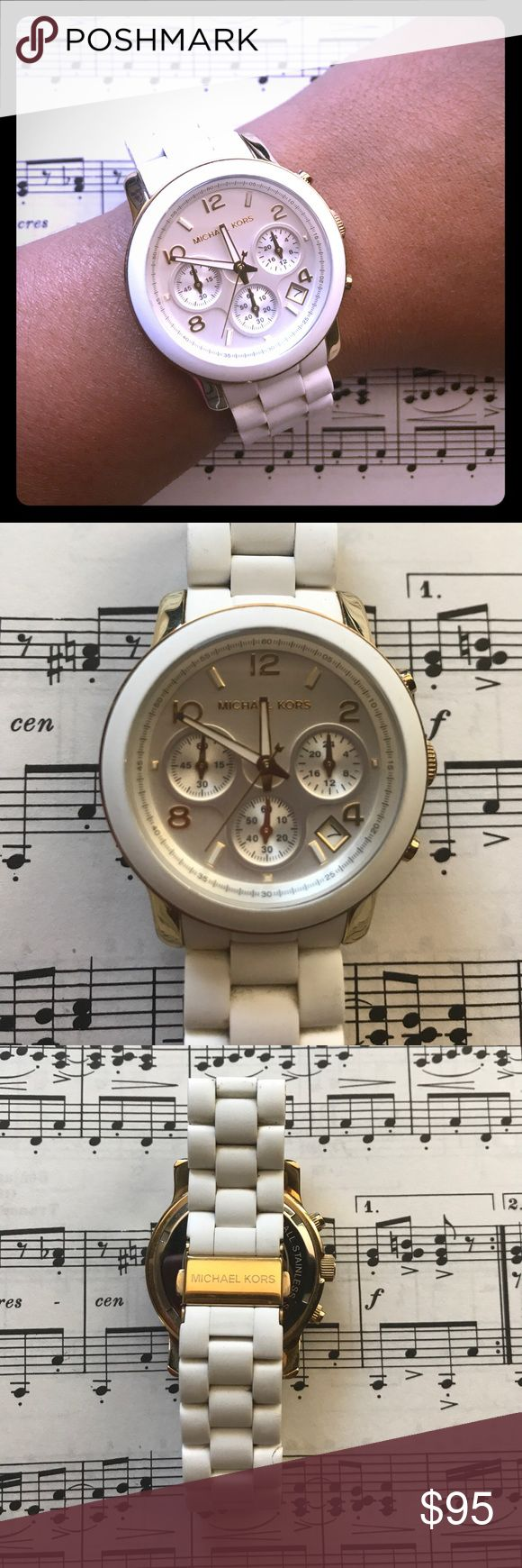🆕 listing! White Michael Kors wristwatch I have a lot of these watches, but I only really wear one or two of them. This one was one of my favorites...until I got an Apple Watch that also has a white band. Alas, the battery has stopped. Also, I had a few links removed so it would fit me perfectly, and those links are long gone. So, it's in good used condition but its flaws are revealed in the price. Michael Kors Accessories Watches