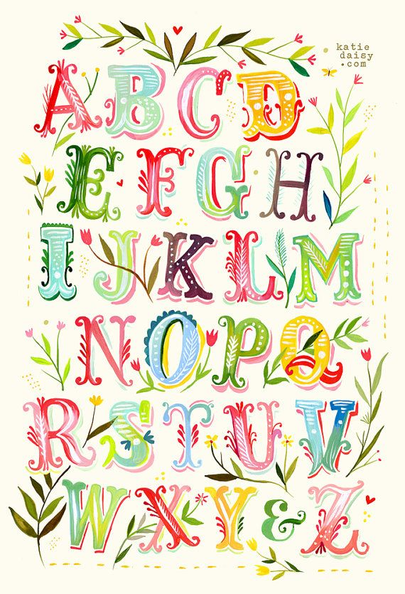 Alphabet Poster Print Watercolor Typography by thewheatfield