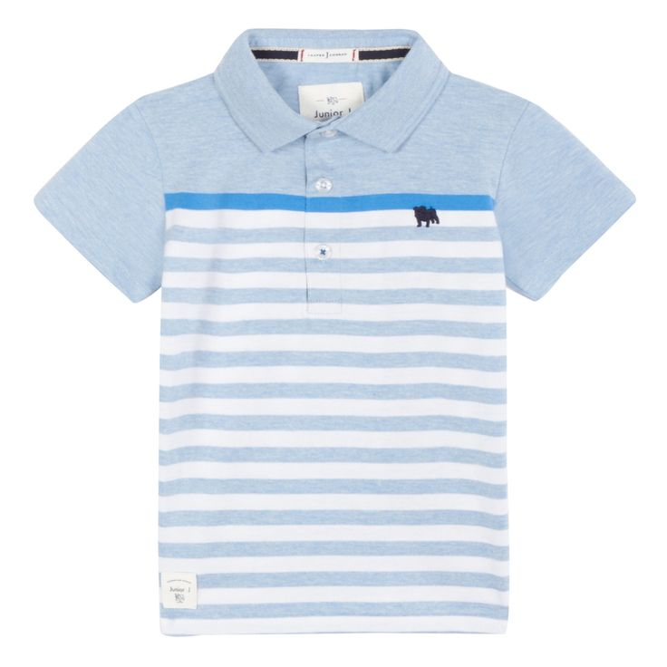From our exclusive J by Jasper Conran children's range, this polo shirt is perfect for a boy s wardrobe. In blue, the classic button down design features a contemporary stripe pattern and an embroidered bulldog logo. Highly versatile, it will partner well with a pair of chino shorts.