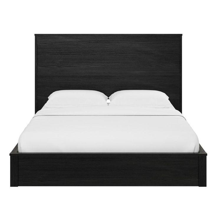 Ameriwood Crescent Point Black Oak Queen Sized Bed And Headboard 5769325com Black Headboard Bed Frame Headboard Bed Furniture
