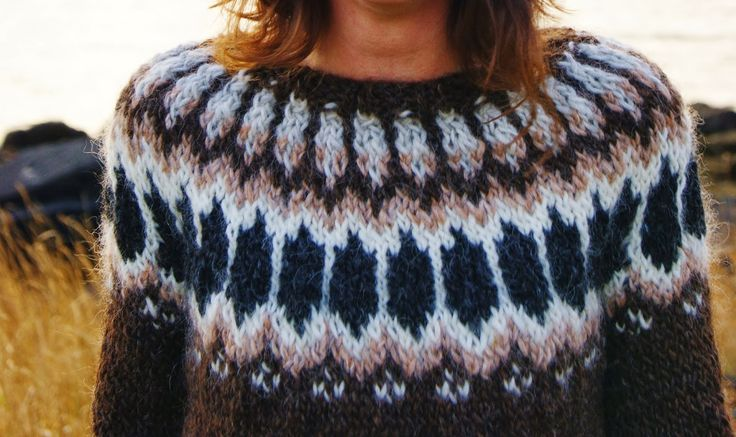 Found on a blog, doesnt say the name/pattern.  Similar to lopi 120:  http://istex.is/islenska/up... , which is knit in Alafoss Lopi. From the pattern repeats, I think this one is made from Lett lopi.