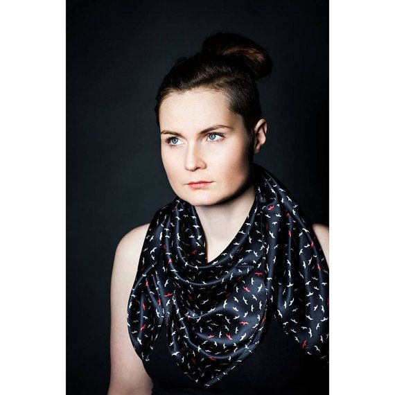 Small birds on black square silk satin scarf  Women fashion