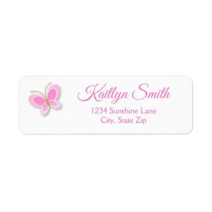 Butterfly Return Address Label Pink Butterfly - giftidea gift present idea one first bday birthday 1stbirthday party 1st